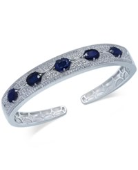 Macy's Blue Sapphire 5 Ct. T.W. And White Sapphire 1 Ct. T.W. Bangle Bracelet In Sterling Silver
