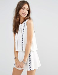 Young Bohemians Top With Lace Ladder Inserts And Floral Embroidery White