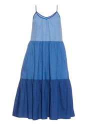 M.I.H Jeans Sunset Tiered Linen And Cotton Blend Dress Blue Multi