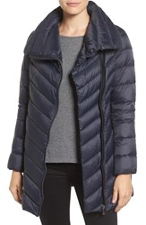 Sam Edelman Women's Asymmetrical Chevron Quilted Down Coat Navy