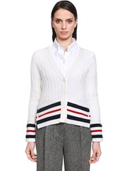 Thom Browne Cashmere Cable Knit Cardigan W Stripes