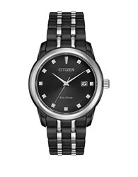 Citizen Corso Eco Drive Ion Plated Analog Stainless Steel Bracelet Watch Black