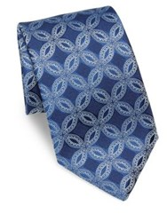 Charvet Circle Embroidered Silk Tie Blue