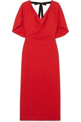 Roland Mouret Marianna Grosgrain Trimmed Draped Stretch Crepe Dress Red