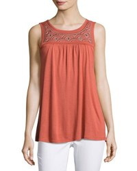 Neiman Marcus Embroidered Yoke Jersey Tank Brown