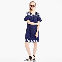 J.Crew Tall Bell Sleeve Dress With Fringe Dot