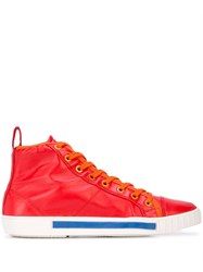 Carven Lace Up Hi Top Sneakers Red