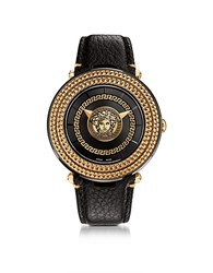 Versace V Metal Icon Black And Rose Gold Unisex Watch W Medusa Medal Golden Yellow