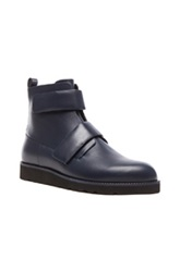 Christopher Kane Velcro Leather Boots In Blue