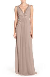Monique Lhuillier Bridesmaids Women's Deep V Neck Chiffon And Tulle Gown