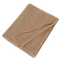 Sofia Cashmere Calabria 6 Ply Cable Stripe Knit Throw Camel
