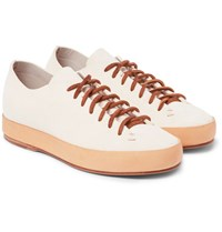 Feit Leather Trimmed Suede Sneakers White