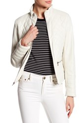 Kenneth Cole Stand Up Collar Quilted Jacket White