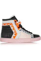 Sophia Webster Riko Glitter Finished Leather High Top Sneakers