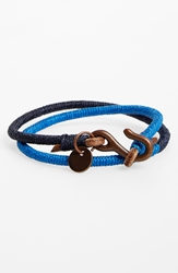 Caputo U0026 Co Leather And Nylon Wrap Bracelet Dark Navy Blue