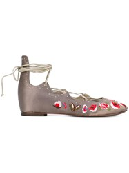 Ash 'Indra' Ballerina Shoes Women Silk Leather Polyester 36 Grey