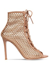 Gianvito Rossi 105Mm Mesh Lace Up Boots Praline