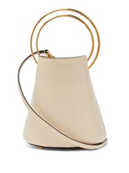 Marni Pannier Leather Bucket Bag White