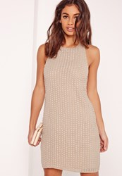 Missguided Beaded Halter Neck Bodycon Dress Nude Beige