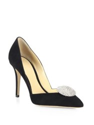 Giorgio Armani Embellished Suede D'orsay Point Toe Pumps Black