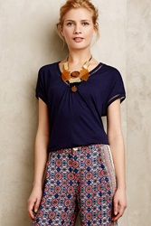 Meadow Rue Chiffon Spliced Tee Navy