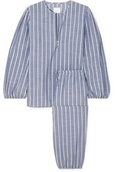 Three J Nyc Striped Cotton Pajama Set Light Blue