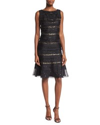 Carolina Herrera Sequin Striped Tiered Cocktail Dress Black Women's Size 12