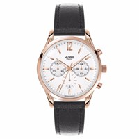 Henry London 39Mm Unisex Richmond Chronograph Watch Black White Rose Gold