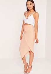 Missguided Slinky Ruched Side Midi Skirt Nude Beige