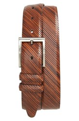 Nordstrom Men's Big And Tall Men's Shop Stripe Leather Belt Cognac