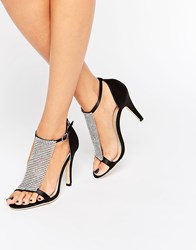 True Decadence Jewel Barely There Heeled Sandals Black Satin