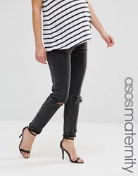 Asos Maternity Farleigh Slim Mom Jean In Lulu Washed Black With Busted Knee Washed Black