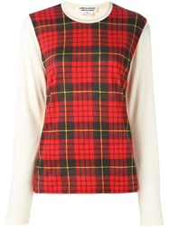 Comme Des Garcons Tartan Panel Sweater Nude And Neutrals
