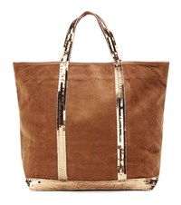 Vanessa Bruno Cabas Medium Embellished Leather Shopper Brown