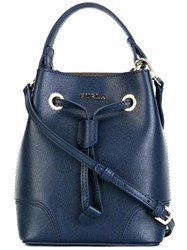 Furla Mini Drawstring Bucket Tote Blue