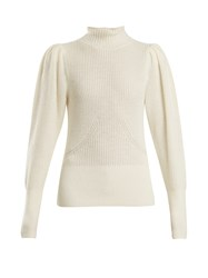 Frame High Neck Wool Blend Ribbed Knit Sweater Cream