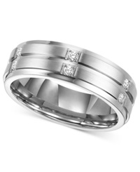 Triton Men's Diamond Wedding Band Ring In Stainless Steel 1 6 Ct. T.W.