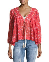 Free People Never A Dull Moment Peasant Blouse Red
