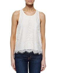 Madison Marcus Pleated Back Lace Tank Ivory