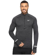 Nike Element Sphere Half Zip Black Heather Anthracite Reflective Silver Men's Long Sleeve Pullover Gray