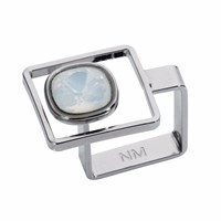 Nadia Minkoff Square Frame Ring Silver White Opal White Silver