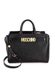 Moschino Leather Logo Satchel Black