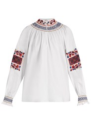 Tibi Cora Embroidered Cotton Top Red White