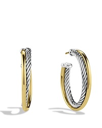 David Yurman Crossover Medium Hoop Earrings With Gold Silver Yellow Gold