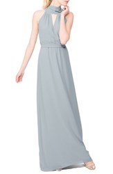 Ceremony By Joanna August Women's 'Riggs' Halter V Neck Chiffon Gown Into The Mystic