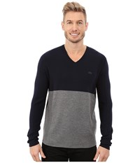 Lacoste Mixed Stretch Wool Rib V Neck Sweater Navy Blue Stone Chine Men's Sweater Gray