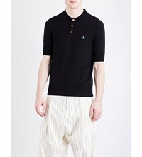 Vivienne Westwood Logo Detail Cotton Knitted Polo Shirt Black