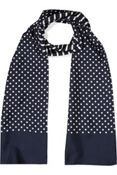 J.Crew Reversible Printed Silk Twill Scarf Navy