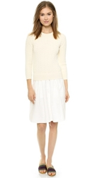 Band Of Outsiders Cable Sweater And Shirting Dress Ecru