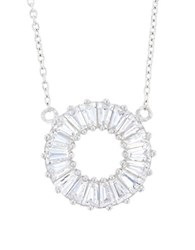 Lord And Taylor Cubic Zirconia Sterling Silver Open Circle Baguette Bar Necklace